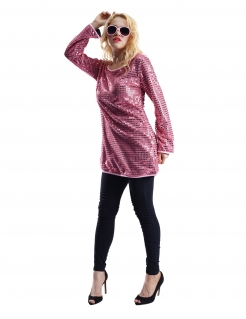 70er-Tunika für Damen mit Pailletten Faschingskostüm rosa