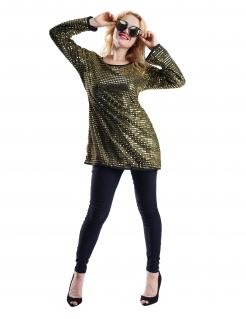 70er-Oberteil für Damen mit Pailletten Fasching gold-schwarz