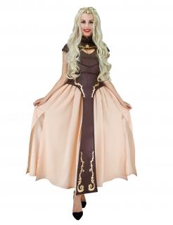 Mittelalterliches Prinzessin-Kostüm für Damen Faschingskostüm Drachenmutter braun-beige