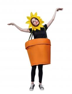 Blumentopf-Kostüm für Damen Faschingskostüm braun-gelb