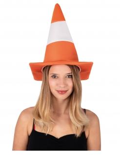 Leitkegel-Hut für Erwachsene Pylon orange-weiss