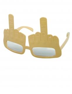 Lustige Mittelfinger-Brille für Erwachsene goldfarben