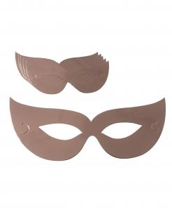 Augenmasken aus Karton 6 Stück Partyanimation roségold