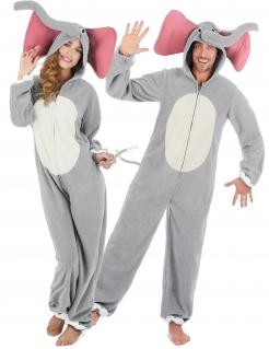 Lustiges Elefanten-Paarkostüm für Erwachsene grau-weiss-rosa