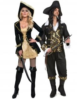 Piraten-Paarkostüm schwarz-gold