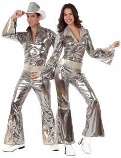 Diso-Paarkostüm 70er-Partnernkostüm silberfarben