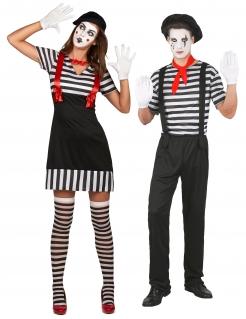 Pantomime-Paarkostüm Mime-Partnerkostüm schwarz-weiss-rot