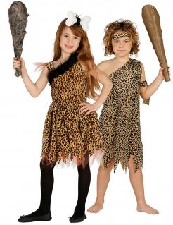 Steinzeitmenschen-Paarkostüm für Kinder braun-schwarz