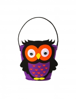 Eulen-Eimer Süssigkeiten Halloween-Accessoire violett-schwarz-orange