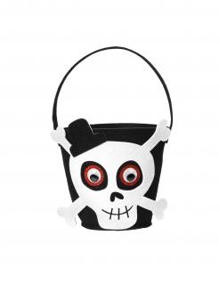 Skelett-Eimer Halloween-Accessoire schwarz-weiss