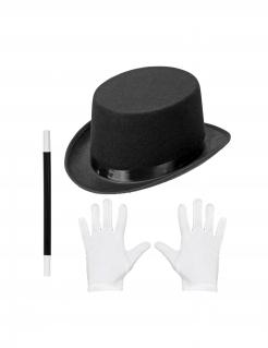 Zauberer-Accessoires für Kinder 3-teilig Fasching schwarz-weiss