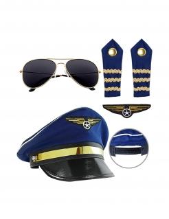 Piloten-Accessoire-Set für Erwachsene Faschingsaccessoire blau-schwarz-gold