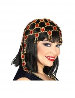 Orientalischer Kopfschmuck für Damen Faschings-Accessoire gold-rot