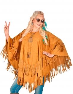 Indianer-Poncho für Damen Faschingskostüm braun