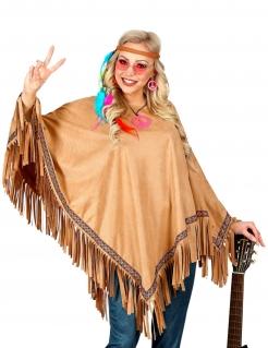 Hippie-Poncho mit Fransen braun