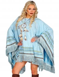 Indianer-Poncho für Damen Accessoire blau