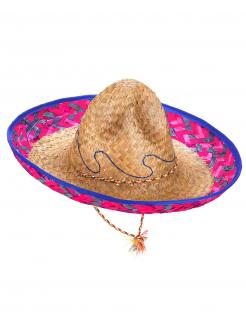 Mexikanischer Sombrero für Erwachsene beige-rosa-blau