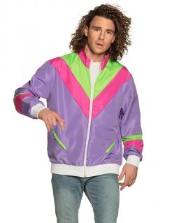 Retro 80er Jahre-Joggingjacke Bad Taste violett-grün-rosafarben