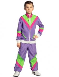 80er-Jahre Jogginganzug für Kinder Bad Taste violett-grün-rosafarben