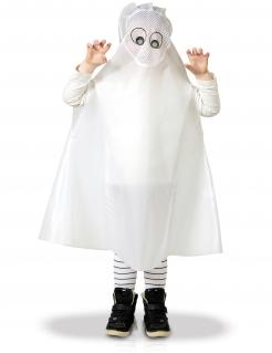 Geister-Poncho für Kinder Halloween-Kostüm weiß