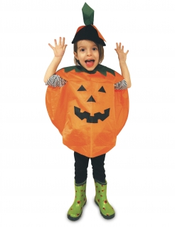 Kürbis-Poncho Halloween-Kinderkostüm schwarz-orange-grün