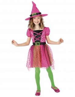 Hexen-Kostüm für Mädchen mit Hut Halloweenkostüm pink