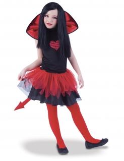 Diabolisches Teufel-Kostüm für Mädchen Halloweenkostüm schwarz-rot
