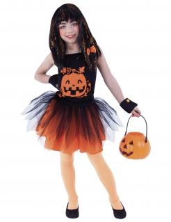 Kürbis-Kostüm für Mädchen Halloween-Kostüm schwarz-orange