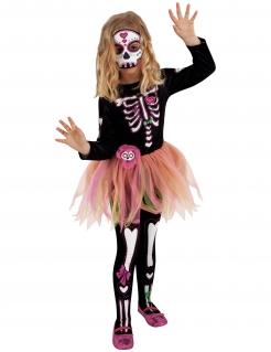 Miss Día de los Muertos-Kostüm für Mädchen Halloweenkostüm schwarz-weiss-pink