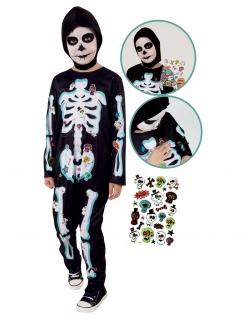 Skelett-Kostüm für Kinder mit Stickern Halloweenkostüm schwarz-weiss-bunt