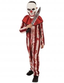Gestreiftes Horrorclown-Kostüm für Jungen Halloweenkostüm rot-beige