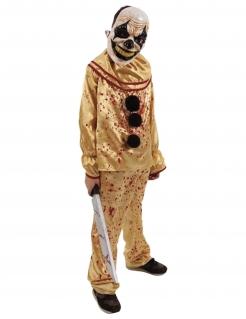 Horrorclown-Kostüm für Teenager Halloweenkostüm gelb-rot