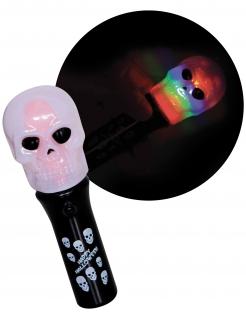 Totenkopf-Taschenlampe Happy Halloween Partydeko schwarz-weiss