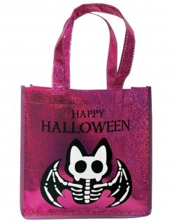 Skelettfledermaus-Glitzertasche Kostüm-Accessoire für Happy-Halloween pink-schwarz-weiß 24,5 x 8 x 24,5 cm