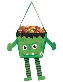Kleine Monstertasche für Kinder Happy Halloween grün-schwarz-weiß 17 cm