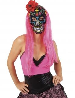 Tag der Toten-Maske für Damen mit Rose Halloween-Maske bunt