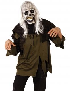 Zombie-Maske mit Perücke Halloween-Maske beige