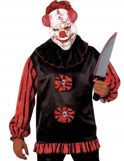 Horrorclown-Maske mit psychopathischem Grinsen Halloweenmaske weiss-rot