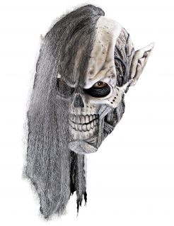 Nekromant-Maske Totenbeschwörer Halloween-Maske grau-weiss