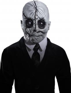 Mr Slim-Latexmaske Halloween-Maske grau-schwarz
