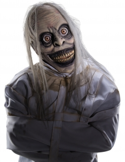 Psychopathen-Latexmaske mit Perücke Halloween-Maske grau