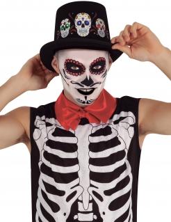 Tag der Toten-Hut mit Leuchteffekt Halloween-Accessoire schwarz-bunt