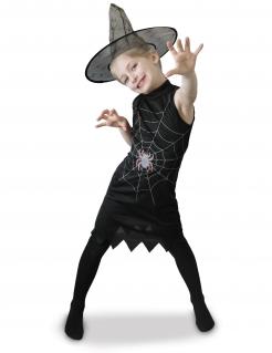 Spinnen-Hexen-Kostüm für Mädchen Halloweenkostüm schwarz-weiss