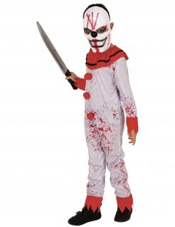 Blutbeflecktes Killerclown-Kostüm für Jungen Halloween-Kostüm weiss-rot