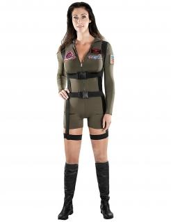 Offizielles Top Gun™-Pilotenkostüm für Damen grün-schwarz