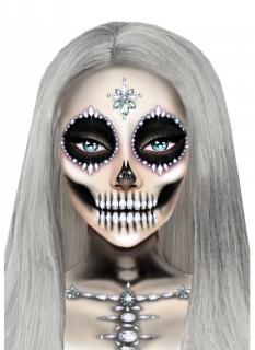 Skelett-Schmucksteine selbstklebend Halloween Make-up bunt-glitzernd