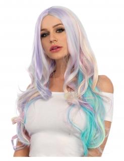Lange Regenbogen-Perücke für Damen pastellfarben bunt