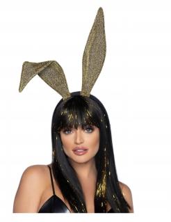 Eleganter Hasen-Haarreif für Damen goldfarben-schwarz