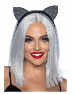 Süßer Katzenohren-Haarreif für Damen schwarz-silberfarben