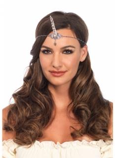 Einhorn-Stirnkranz für Damen silberfarben-türkis
